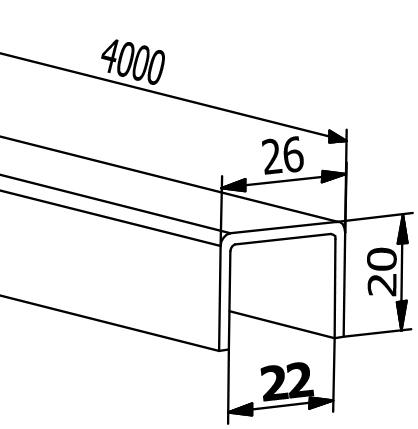 Handrail U-Profile - Model 2114