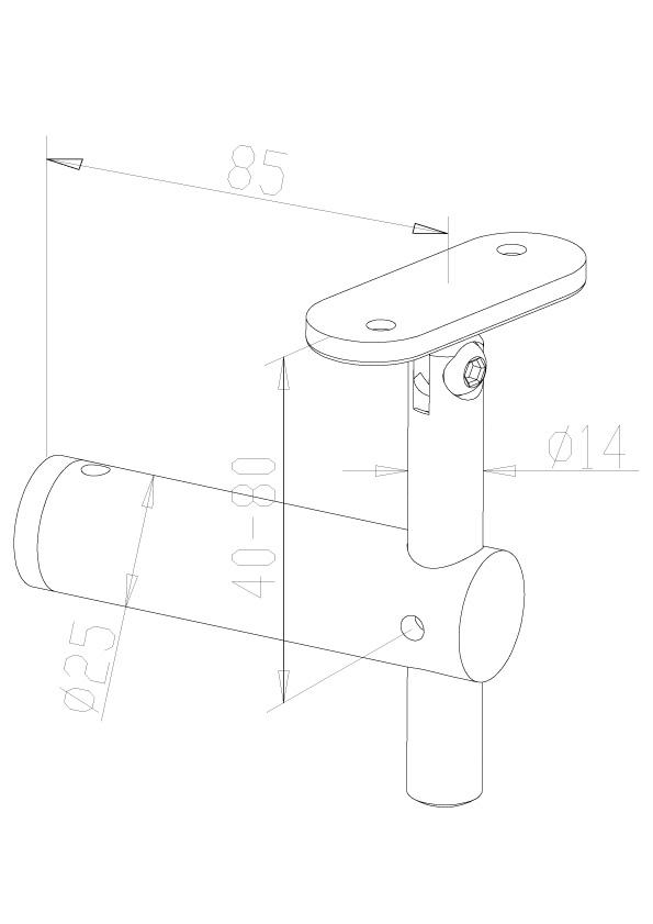 Adjustable Handrail Brackets - Model 0405 - Flat