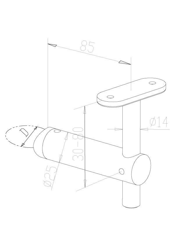 Handrail Brackets - Model 0410 - Flat