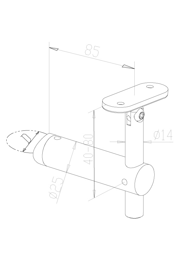 Adjustable Handrail Brackets - Model 0415 - Flat