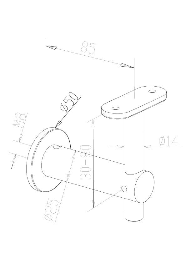 Handrail Brackets - Model 0430 - Flat