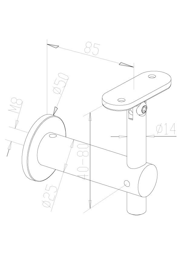 Adjustable Handrail Brackets - Model 0435 - Flat