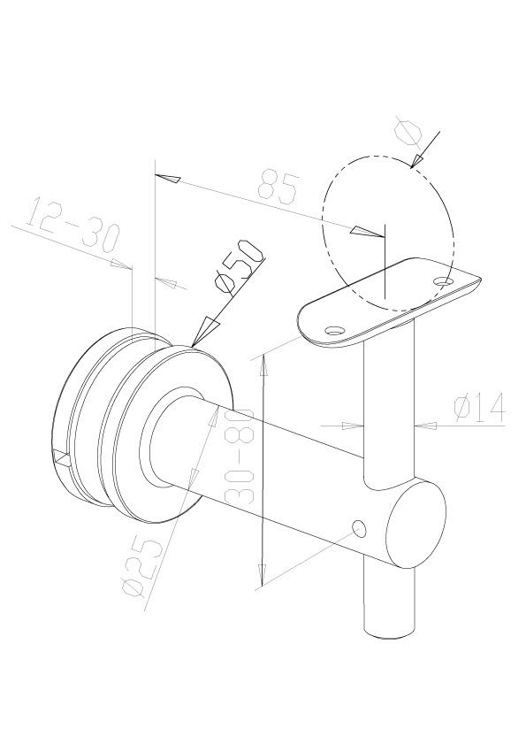 Handrail brackets - glass fix - Model 0440