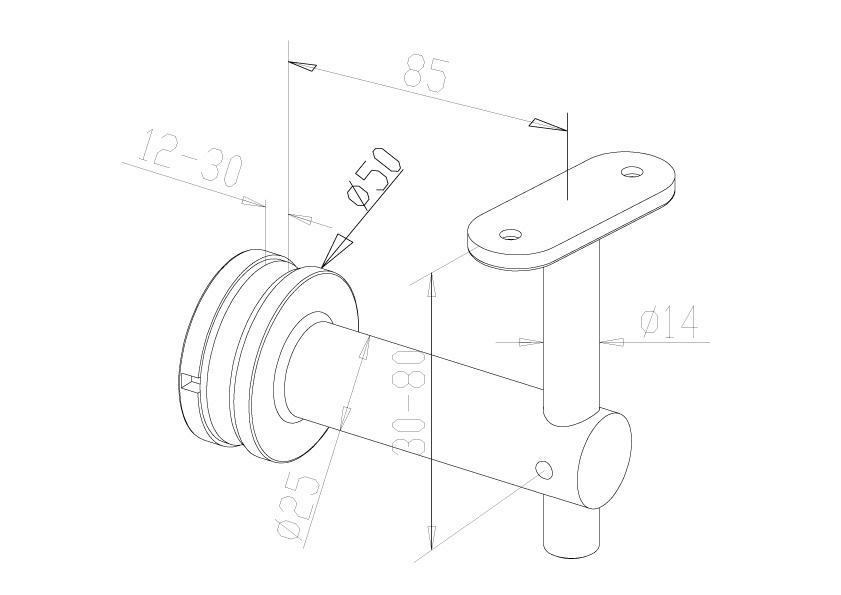 Handrail Brackets - Model 0440 - Flat