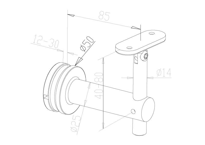 Adjustable Handrail Brackets - Model 0445 - Flat
