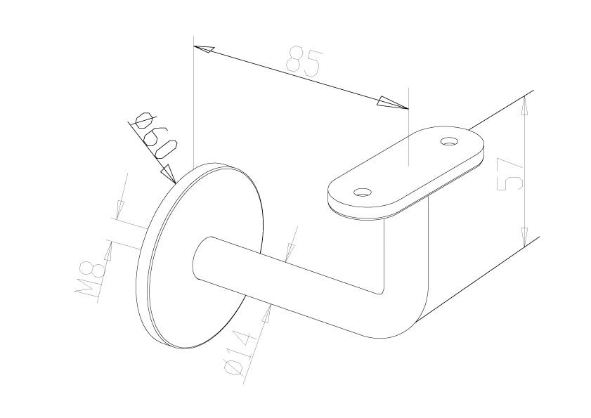 Handrail Brackets - Model 0511 - Flat