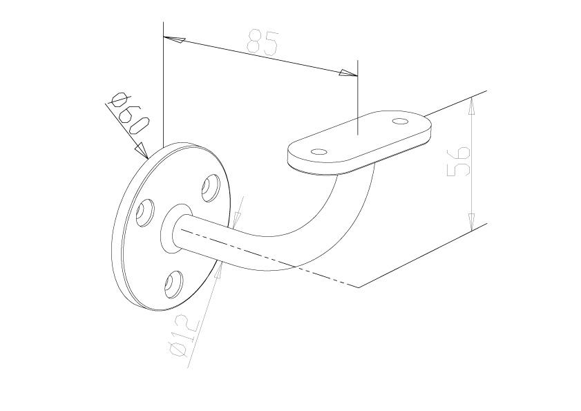 Handrail Brackets - Model 0521 - Flat