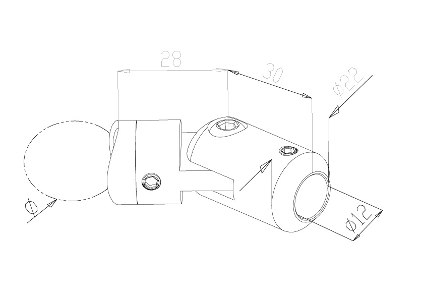 12mm Inline Adjustable Crossbar Holders - Model 2912