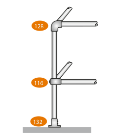 Level Corner Post 90 Degrees - C Clamps