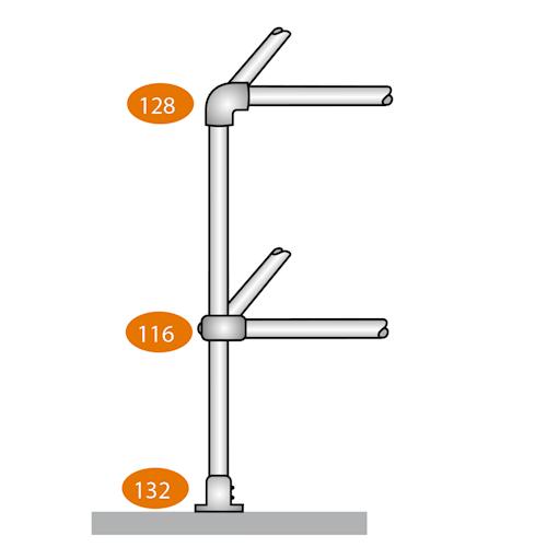 Level Corner Post 90 Degrees - D Clamps