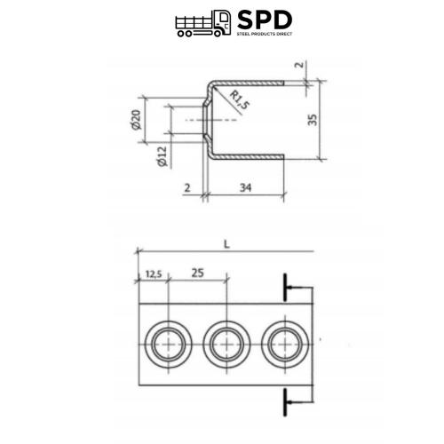 2mm Thick - 35mm Deep, 34mm High Mild Steel Self Colour Ladder Rung x 2.000mm long